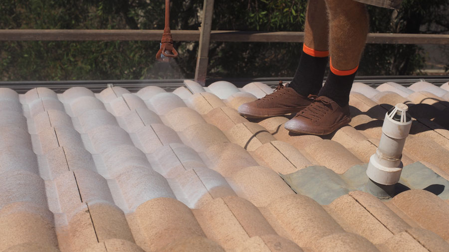 Brisbane Northside roof painting apply mould treatment and attend to gable ends flashings